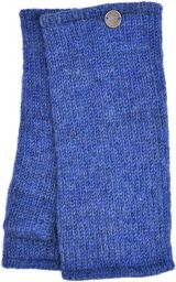 Pepper - pure wool plain wristwarmer - blue