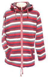 detachable hood - striped jacket - Red/Rust