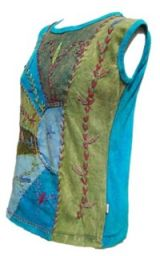 ***SALE*** - Stonewashed Patchwork -  Embroidered Top - Blue