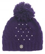 Hand knit - trellis sparkle bobble hat - Purple