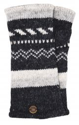 Fleece lined wristwarmer - zigzag - Charcoal