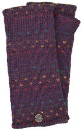 Fleece lined wristwarmer - rainbow tick - Grape