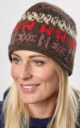 Easy beanie - pure wool - pattern brown / mauve