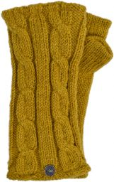 Fleece lined wristwarmer - cable - Mustard