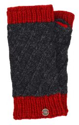Fleece lined - contrast border - wristwarmer - Charcoal/red