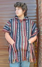 Brushed cotton - gheri fabric - poncho - red/black