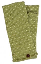 Fleece lined wristwarmer - tick - Mist green/white