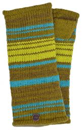 Fully lined - narrow stripe - wristwarmers - greens