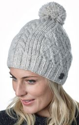 Trellis sparkle bobble hat - hand knitted - fleece lining - pale grey