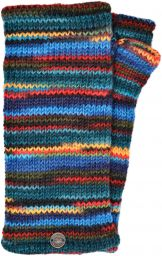 Pure wool - electric stripe wristwarmers - blue