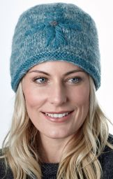 fine wool mix - embroidered beanie - Teal