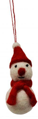 Felt - Christmas Decoration - Snowman - Red