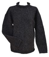 Pure new wool - hand knit jumper - Charcoal
