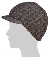Ribbed peak hat - pure wool - hand knitted - fleece lining - brown