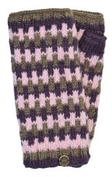 NAYA - Fleece lined wristwarmers - geometric - mink/berry
