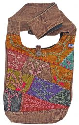 Embroidered - patchwork - stonewashed - shoulder bag - brown