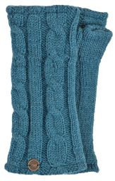 Fleece lined wristwarmer - cable - Aqua