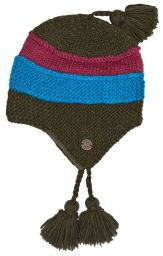 Snowboarder earflap - pure wool - hand knitted - fleece lining - assorted colours