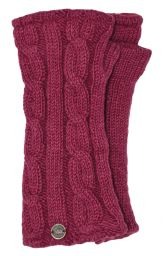 Fleece lined wristwarmer - cable - Berry