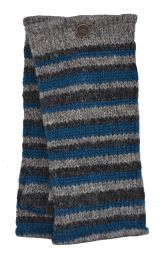 Fleece lined - Random Stripe - Wristwarmer  - Natural/Teal