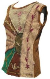 ***SALE*** -  Stonewashed Patchwork - Embroidered Top - Brown