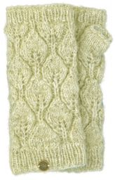Fleece lined - leaf pattern -  wristwarmers - pale natural