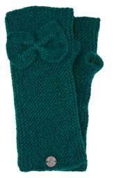 Pure wool - single bow - wristwarmers - teal
