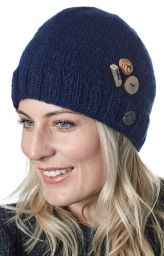 Fruit button beanie - pure wool - fleece lined - blue
