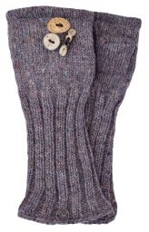 Fleece lined wristwarmer - fruit button - Pale heather