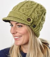 Hand knit - half fleece lined - cable - peak hat - Green