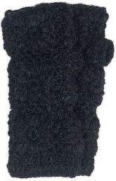 Fleece lined wristwarmer - crochet - Black