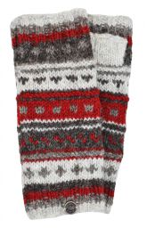 NAYA - hand knit - pattern - wristwarmer - brown/red