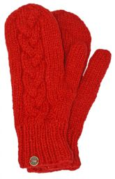 Fleece lined mittens - Cable - Soft red