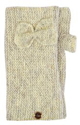 Pure wool - single bow - wristwarmers - pale grey