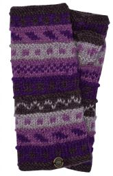 NAYA - hand knit - pattern - wristwarmer - purples