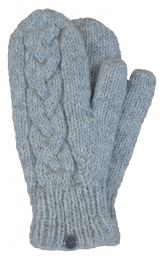 Fleece lined mittens - Cable - Pale grey