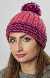 Ribbed bobble hat - pure wool - fleece lining - pink