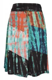 Patchwork - tie dye midi skirt - dark colours