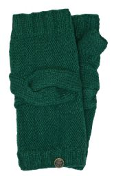 NAYA - pure wool - cable twist - wristwarmer - emerald