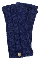 Fleece lined wristwarmer - cable - Dark blue