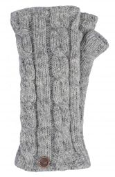 Fleece lined wristwarmer - cable - Pale Mid Grey