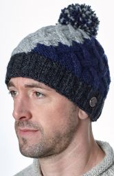 Hand knit - lattice step bobble hat - Charcoal/blue