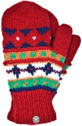 Hand knit pure wool - multi pattern mitten - deep red
