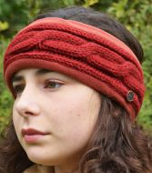 Fleece lined headband - cable - Deep Red