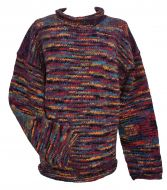 pure new wool - hand knit jumper - electric - Grape