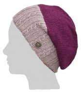Pure Wool - Aran Rib - Baggy Beanie - Deep Berry