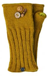 Fleece lined wristwarmer fruit button - Mustard