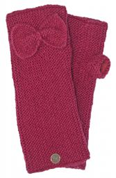 Pure wool - single bow - wristwarmers - berry
