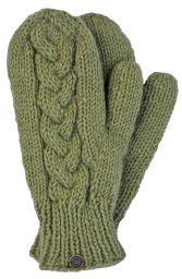 Fleece lined mittens - Cable - Pear green