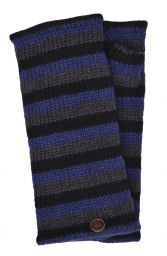 Fleece lined wristwarmer - stripe - Blue Black Grey